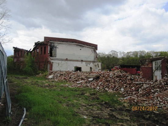 Partially demolished building